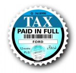 Retro TAX DISC Replacement Design Fits All Ford External Vinyl Car Sticker 75x75mm